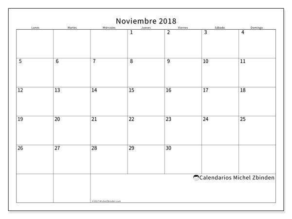 Calendario noviembre 2018, Horus