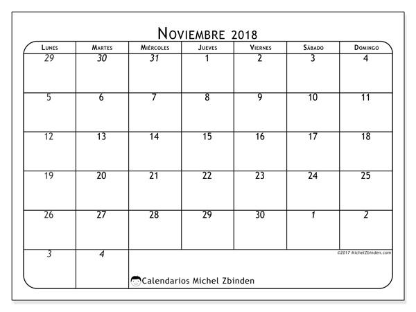 Calendario noviembre 2018, Maximus