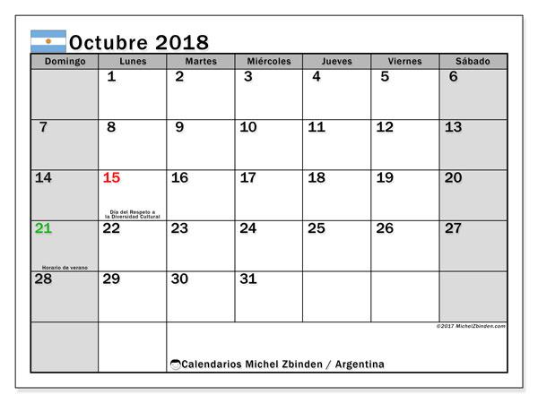 Calendario octubre 2018, Días feriados en Argentina