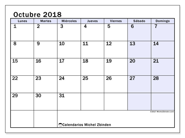 Calendario octubre 2018, Auxilius