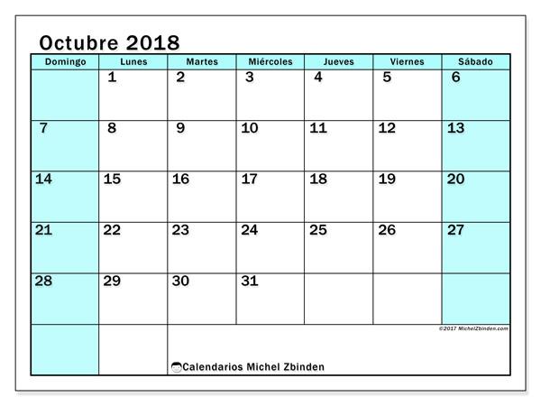 Calendario octubre 2018 - Laurentia (co)