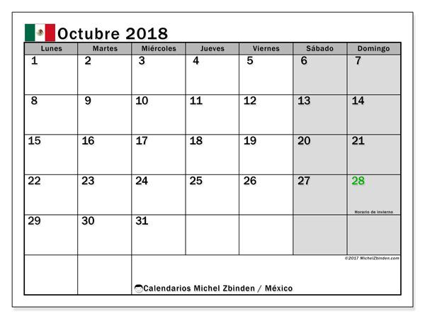 Calendario octubre 2018, Días feriados en México