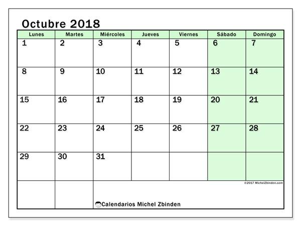 Calendario octubre 2018, Nereus