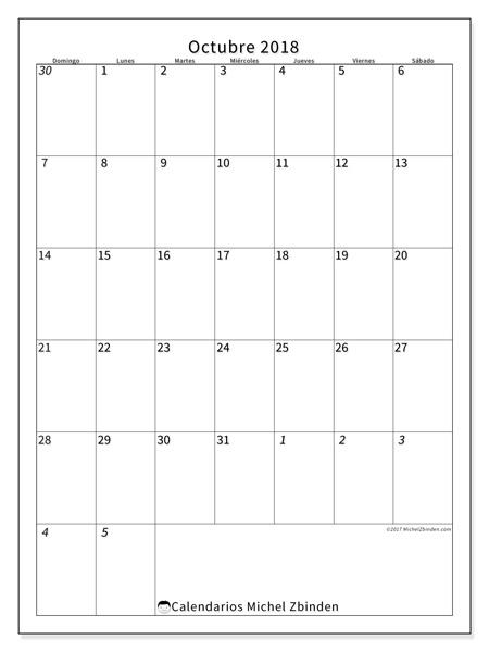 Calendario octubre 2018 - Regulus (co)