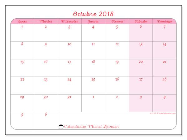 Calendario octubre 2018, Rosea