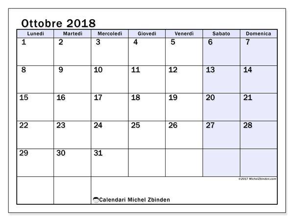 Calendario ottobre 2018, Auxilius