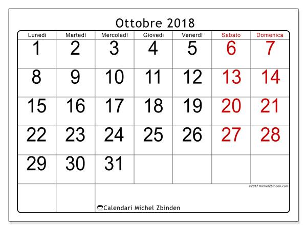 Calendario ottobre 2018, Emericus