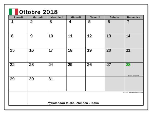 Calendario ottobre 2018, Giorni festivi in Italia