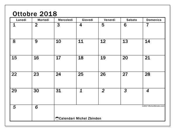 Calendario ottobre 2018, Julius