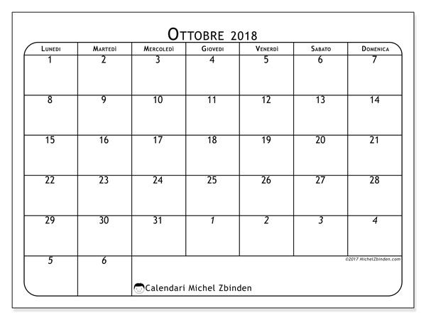 Calendario ottobre 2018, Maximus