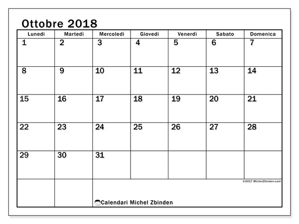 Calendario ottobre 2018, Tiberius