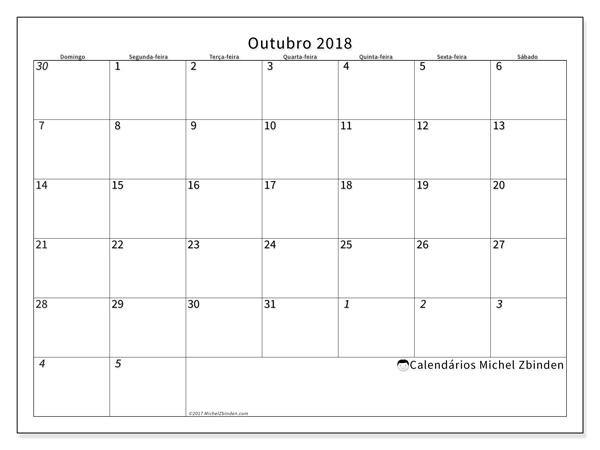Calendário outubro 2018, Deodatus