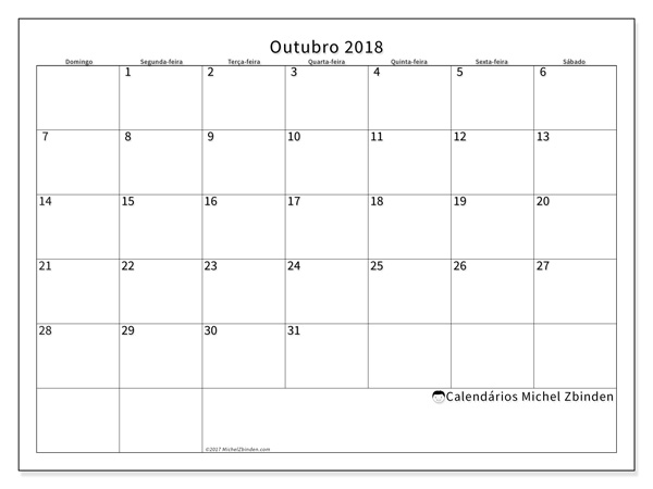 Calendário outubro 2018 - Horus (br)