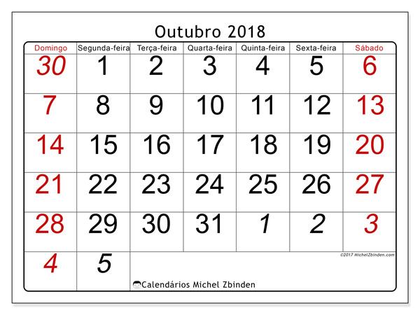 Calendário outubro 2018 - Oseus (br)