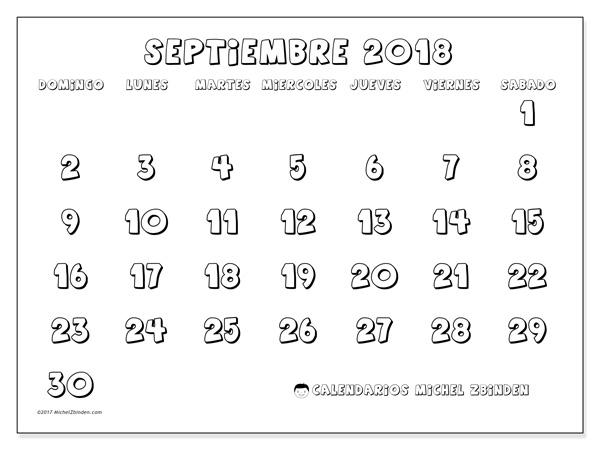 Calendario septiembre 2018, Adrianus