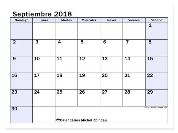 Calendario septiembre 2018, Auxilius