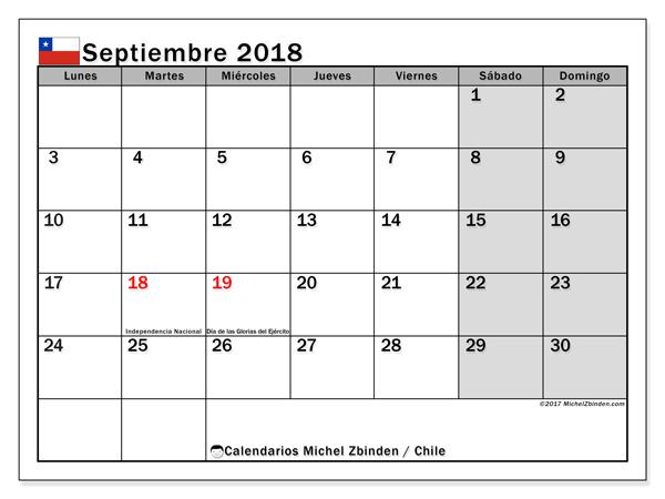 Calendario septiembre 2018, Días feriados en Chile