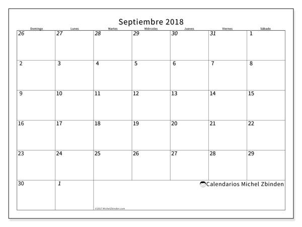 Calendario septiembre 2018, Deodatus