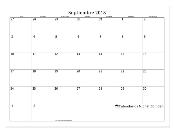 Calendario septiembre 2018 - Deodatus (cl)
