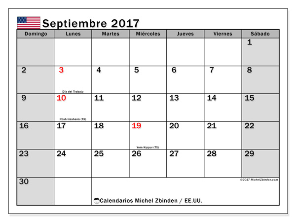 Calendario septiembre 2018, Días feriados en el EE.UU.