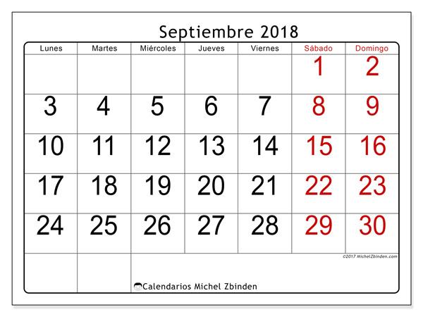 Calendario septiembre 2018, Emericus