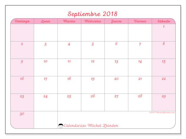Calendario septiembre 2018, Generosa