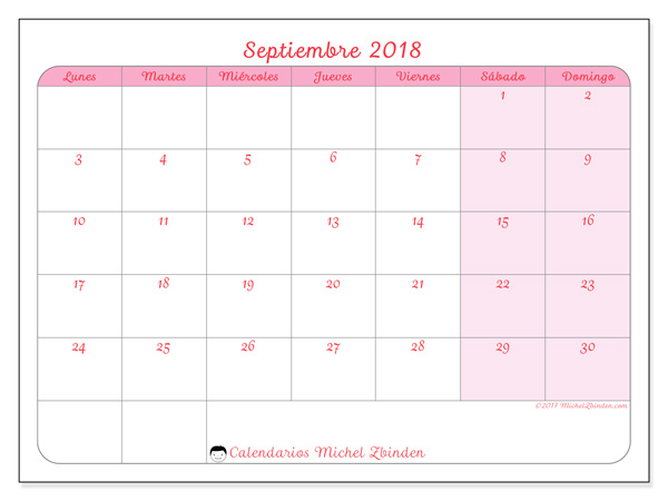 Calendario septiembre 2018 - Generosa (cl)