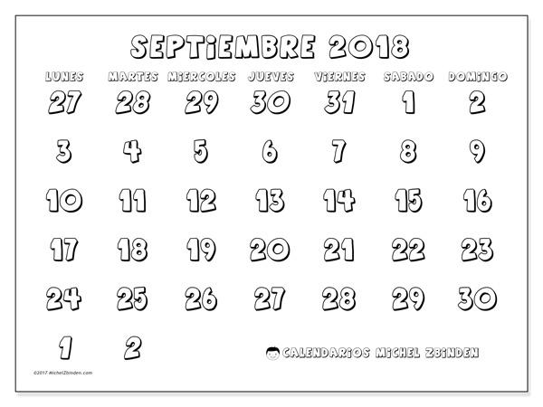 Calendario septiembre 2018, Hilarius