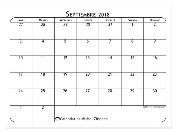 Calendario septiembre 2018, Maximus