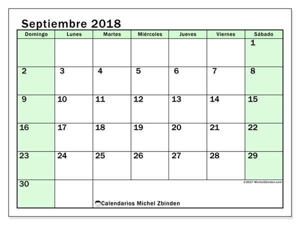 Calendario septiembre 2018, Nereus