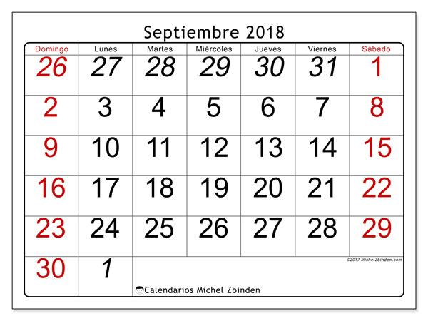 Calendario septiembre 2018, Oseus