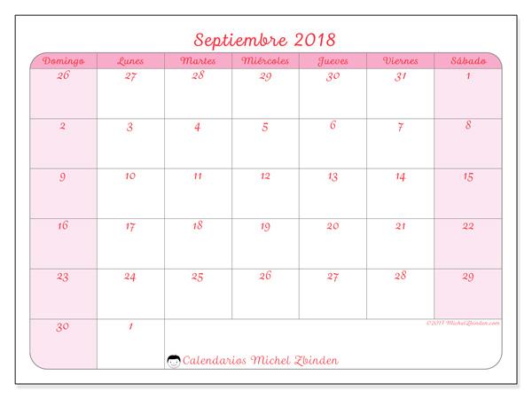 Calendario septiembre 2018, Rosea