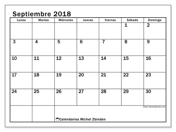 Calendario septiembre 2018, Tiberius