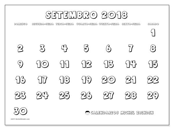 Calendário setembro 2018, Adrianus