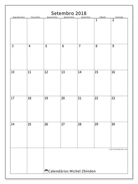 Calendário setembro 2018, Antonius