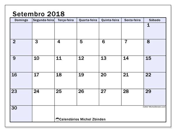 Calendário setembro 2018, Auxilius