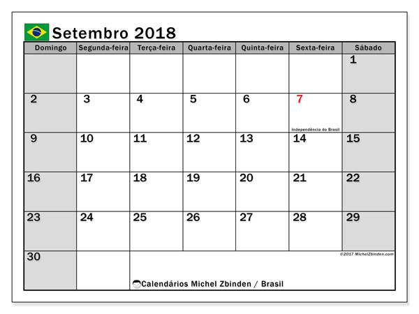 Calendário setembro 2018 - Feriados públicos no Brasil (br)