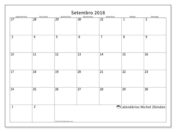 Calendário setembro 2018, Deodatus