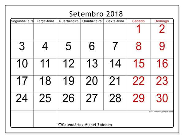 Calendário setembro 2018, Emericus