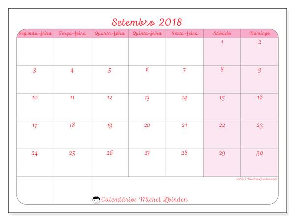 Calendário setembro 2018, Generosa
