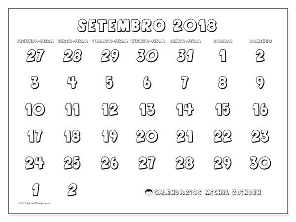 Calendário setembro 2018, Hilarius