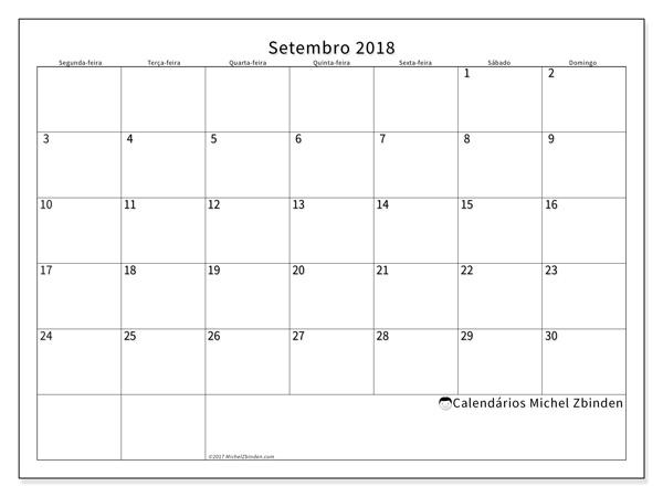 Calendário setembro 2018, Horus