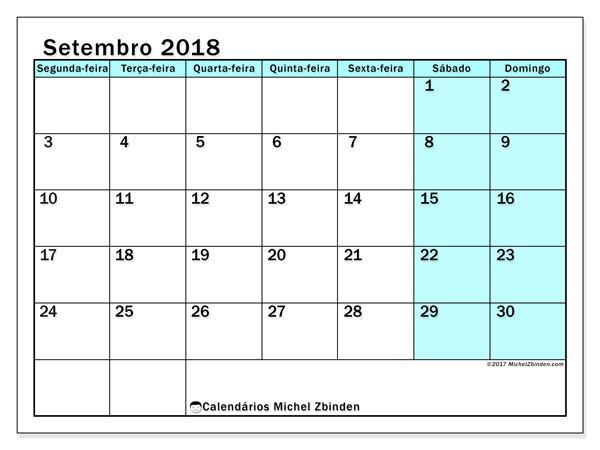 Calendário setembro 2018, Laurentia