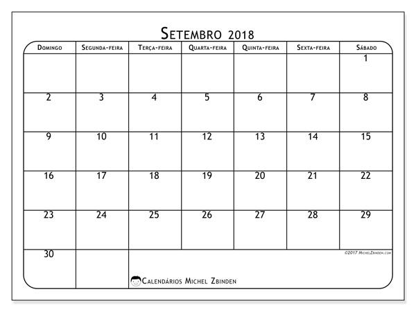 Calendário setembro 2018, Marius