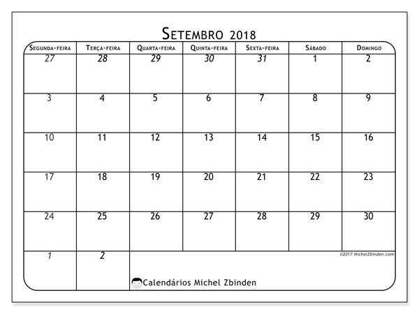 Calendário setembro 2018, Maximus
