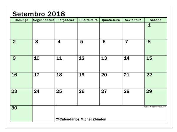 Calendário setembro 2018, Nereus