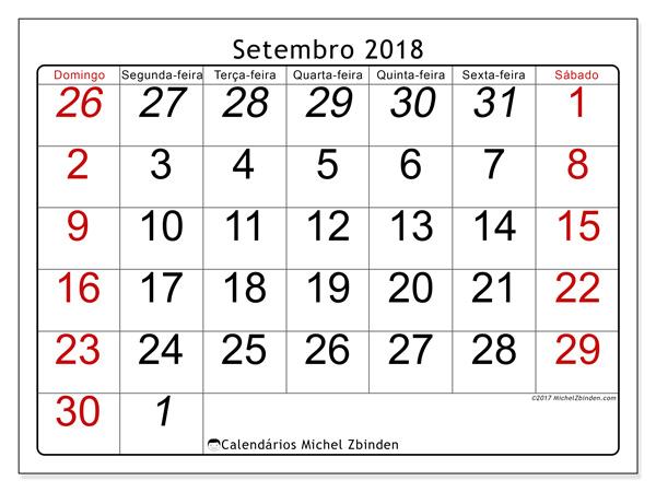 Calendário setembro 2018 - Oseus (br)