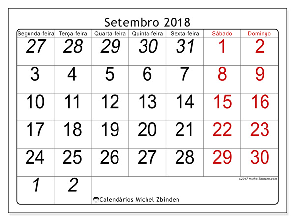 Calendário setembro 2018, Oseus