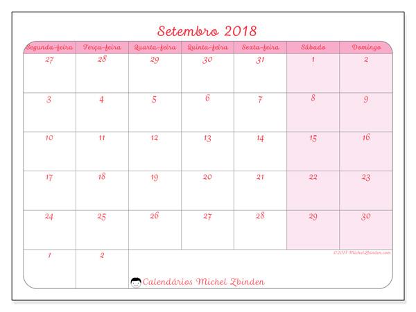 Calendário setembro 2018, Rosea