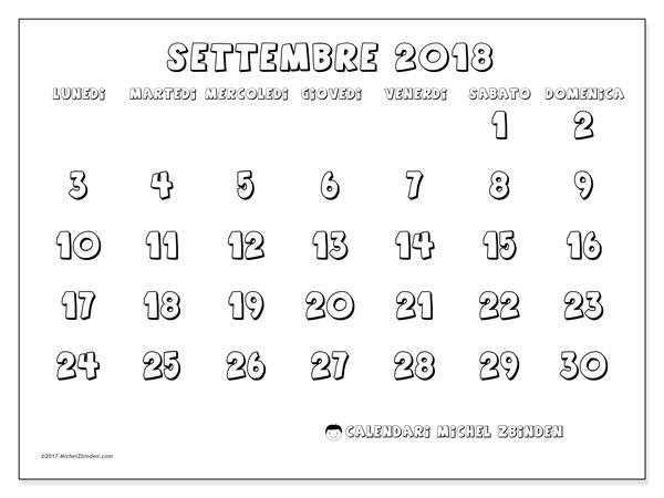 Calendario settembre 2018, Adrianus